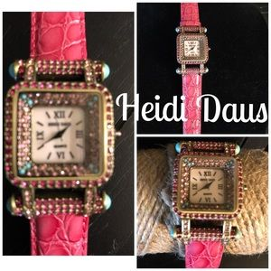 Heidi Daus Pink Croc Leather Crystal Watch